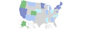 Carte de la légalisation de la marijuana aux Etats-Unis