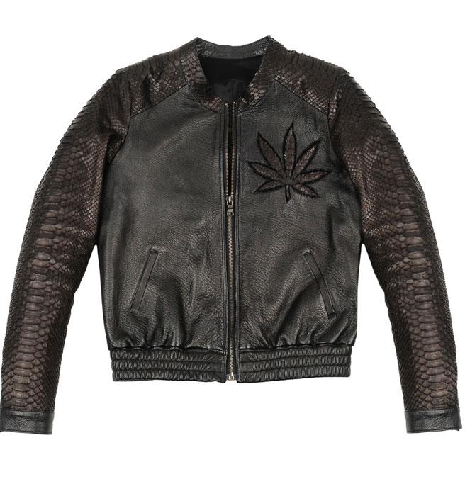 Veste en cuir à motif cannabis