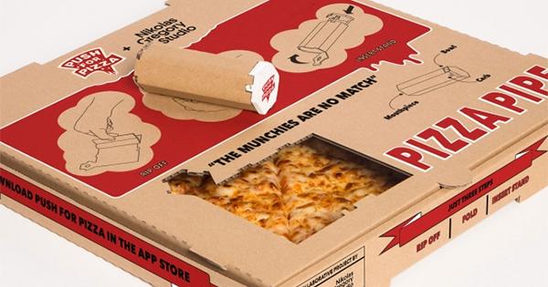 Boite à pizza avec une pipe à cannabis