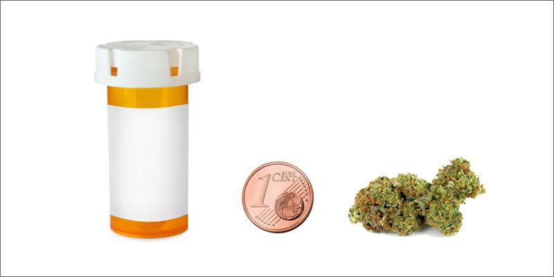 Grinder du cannabis avec une pièce