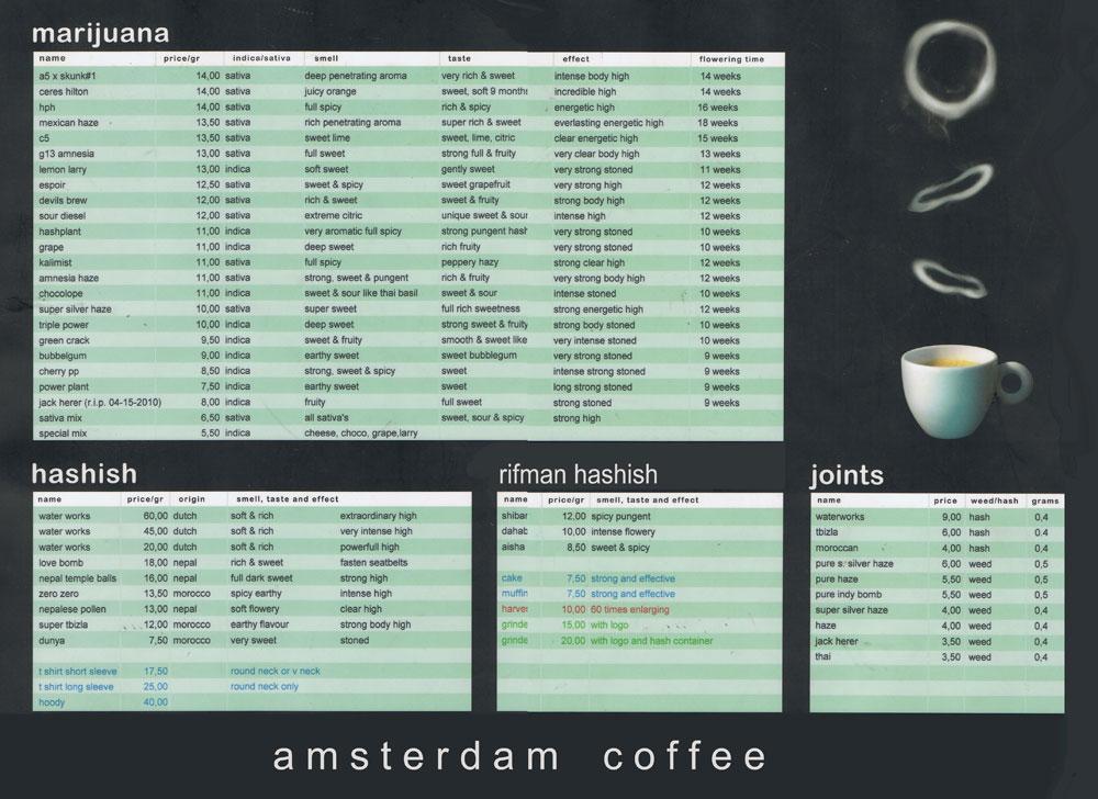 Menu du Dampkring Coffeeshop à Amsterdam