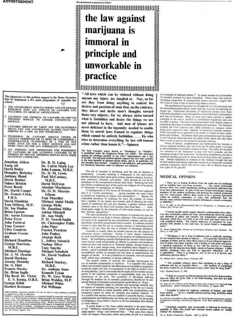 La page du London Times, le 24 juillet 1967.