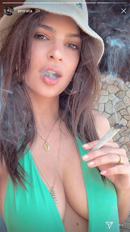 Emily Ratajkowski fume du cannabis