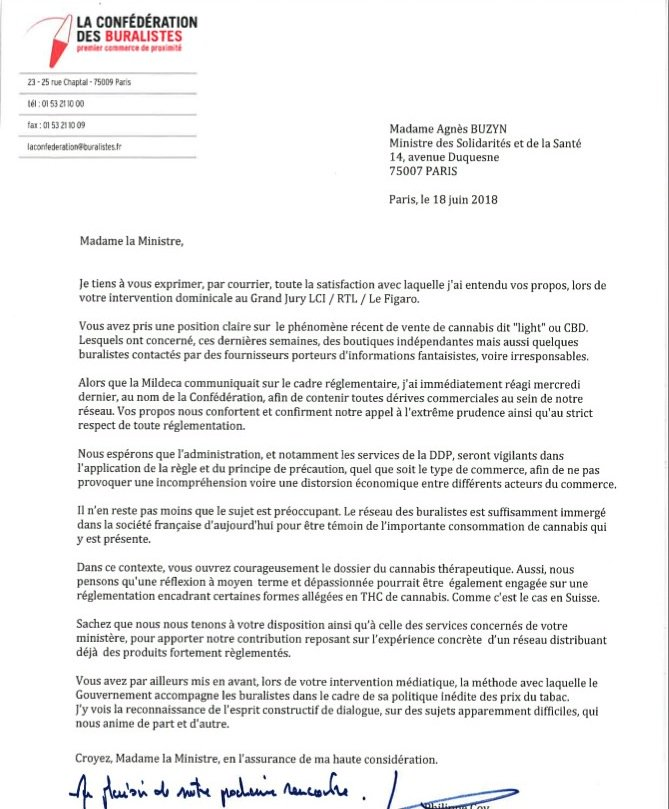 Lettre des buralistes à Agnès Buzyn