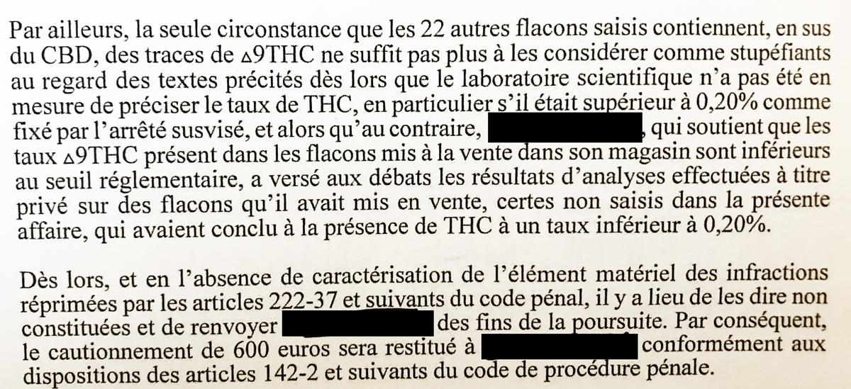 Jugement de Reims sur la présence de THC dans les produits finis