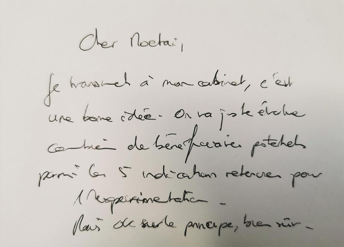 Note manuscrite d'Olivier Véran